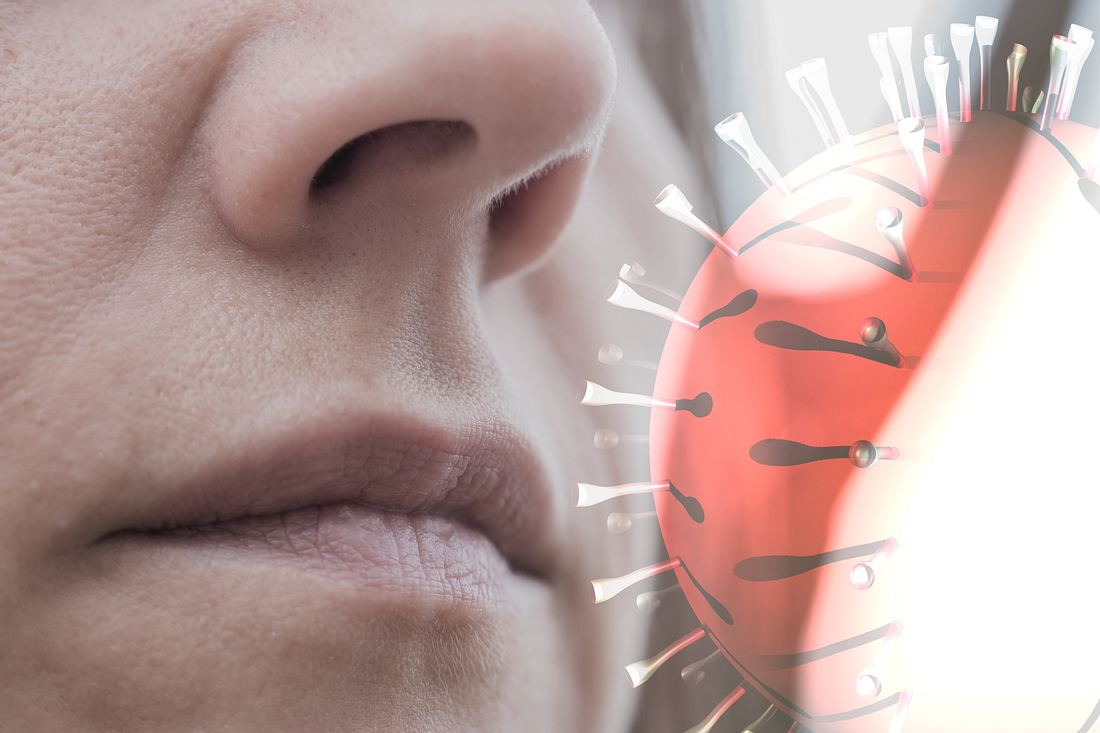 Inhalieren von Viren durch Luftübertragung.