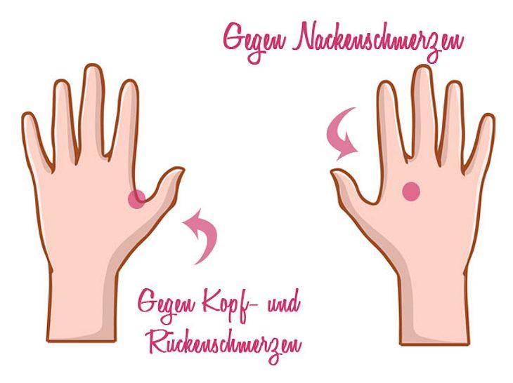 Akupressur gegen Kopf-, Rücken- und Nackenschmerzen.