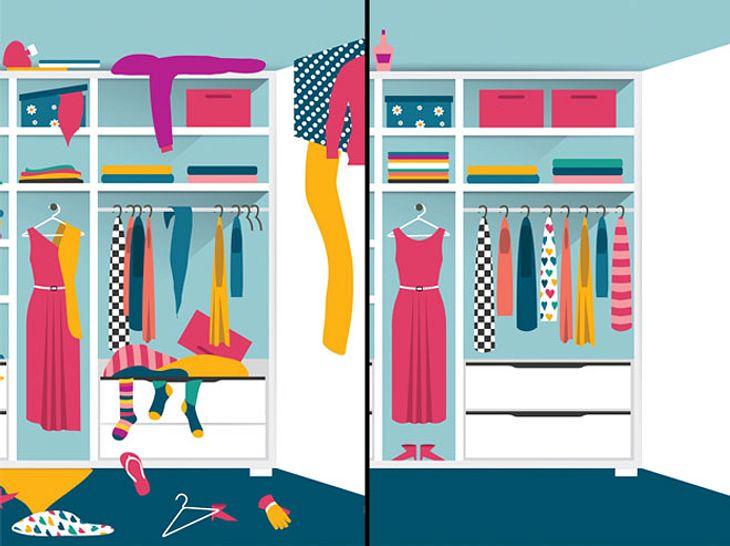 Beim Aufbewahren von Kleidung und anderen Gegenständen gibt es einige nützliche Kniffe.