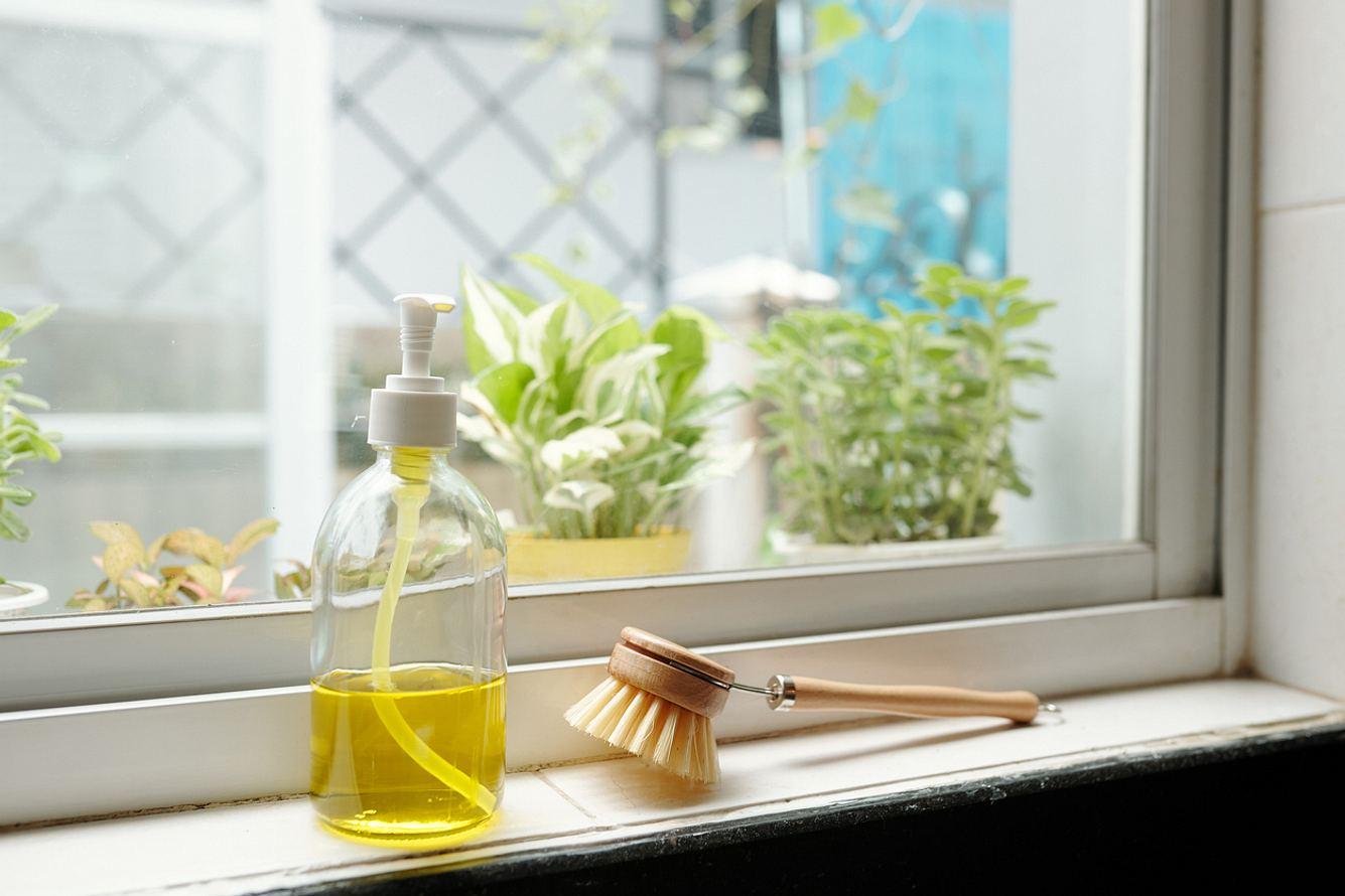 Bio-Spülmittel auf Fensterbank