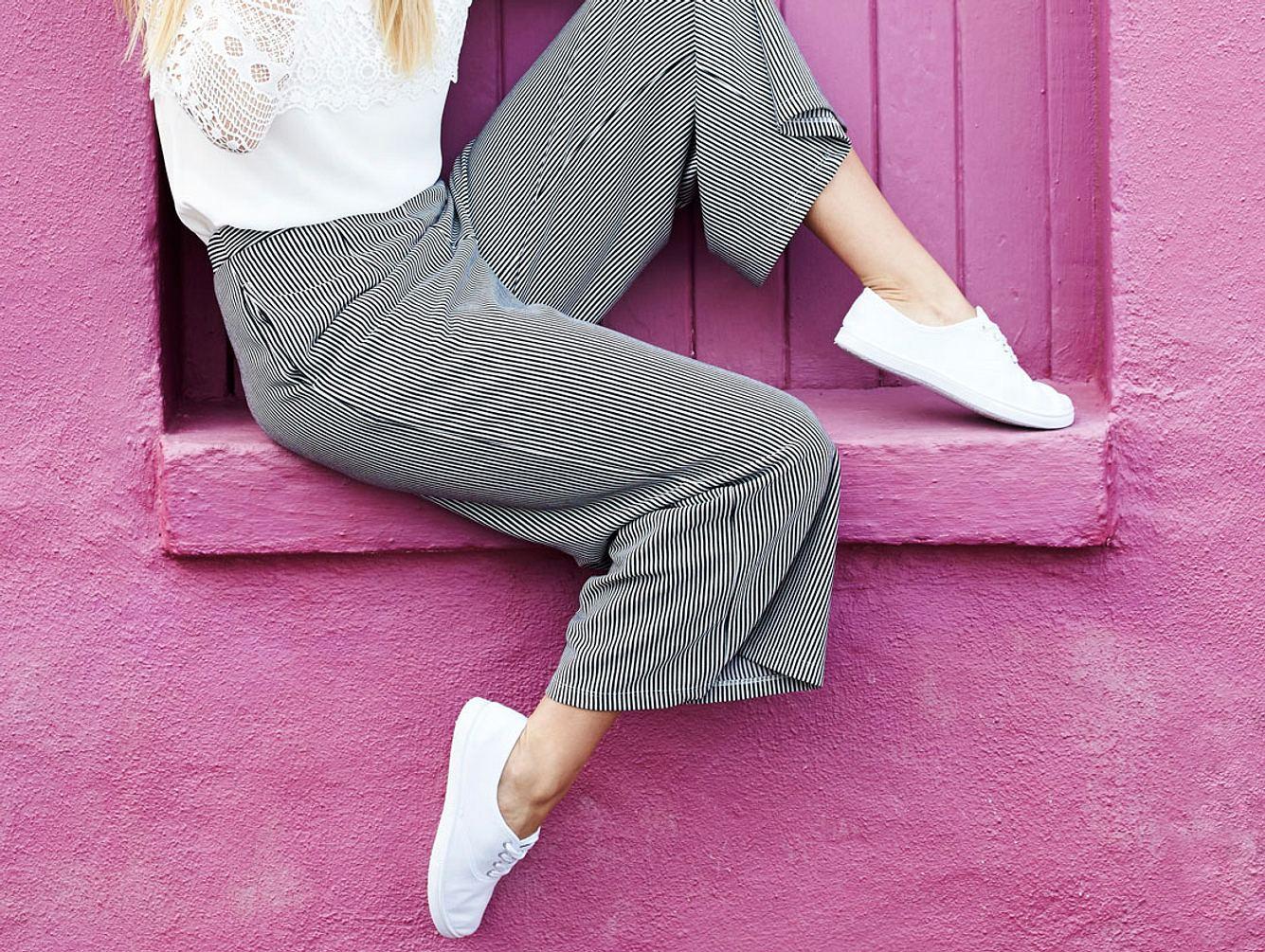 Culotte kombinieren: Model mit Culotte-Hose
