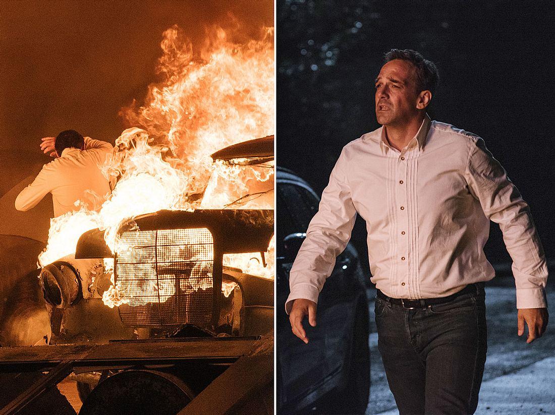 Bei Dahoam is Dahoam kommt es zu einem verheerenden Brand, bei dem sich Mike in Gefahr bringt.