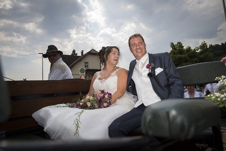 Benny und Nadine nach der Hochzeit.