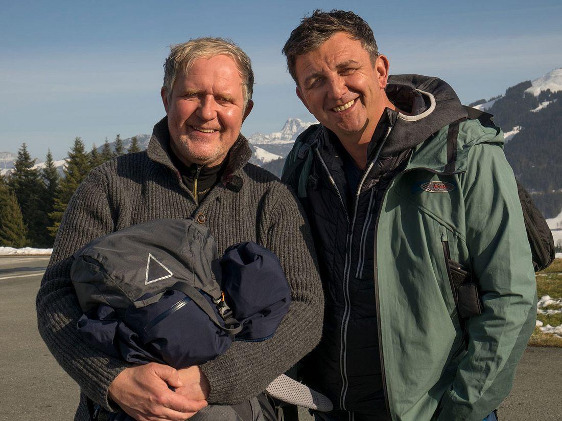 Harald Krassnitzer und Hans Sigl drehen gemeinsam für 'Der Bergdoktor'.