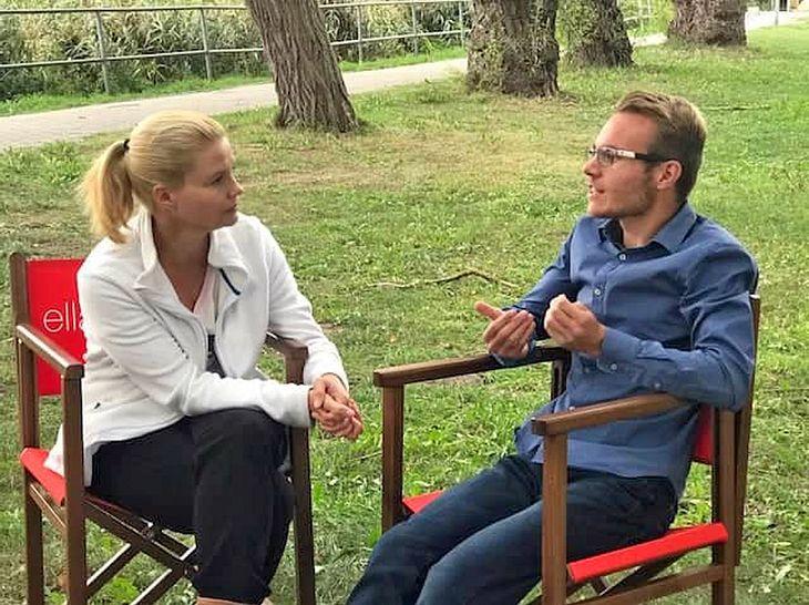 Asperger-Autist Tom Zinram traf Schauspielerin Annette Frier am Set von Ella Schön.