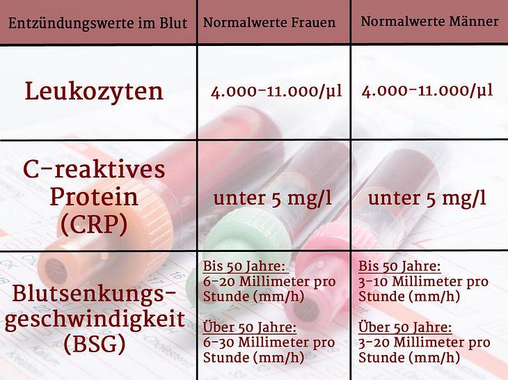 Normalwerte der Entzündungsparameter