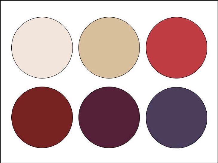 Mit verschiedenen Rot- und Beigetönen lassen sich schöne Farbkombinationen herstellen.
