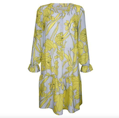 Alba Moda Kleid, Gelb/Blau