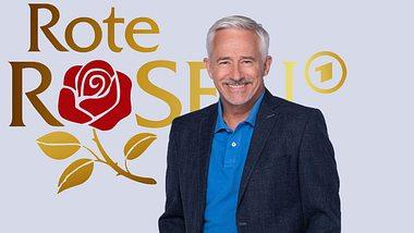 Gerry Hungbauer vor dem Rote Rosen-Logo. - Foto: ARD / Thorsten Jander, ARD (Fotomontage)