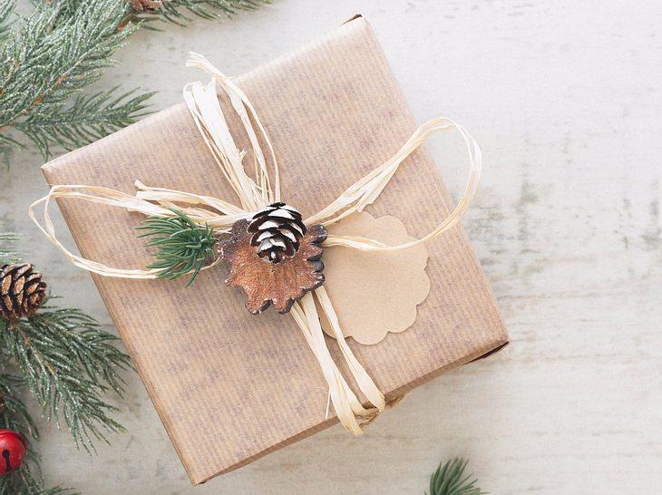Eine Geschenkschleife mit Tannenzweig und -Zapfen