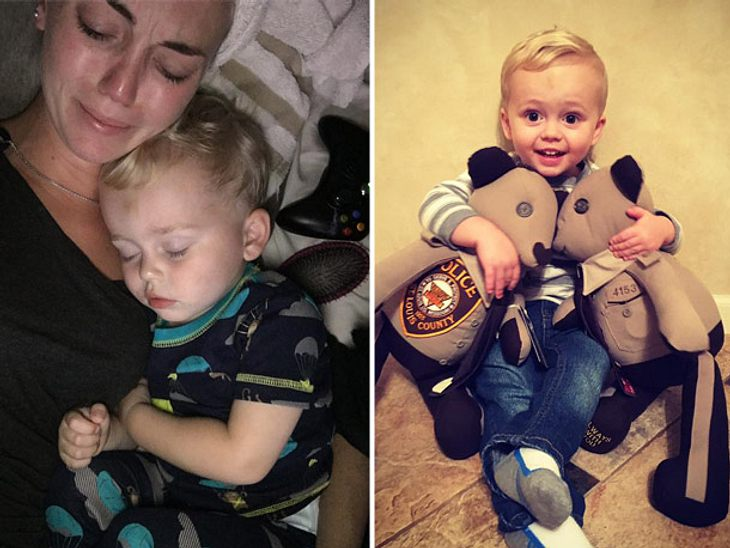 Aus der Uniform eines im Dienst getöteten Polizisten wurden tröstende Teddys für seinen Sohn genäht.