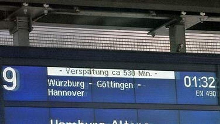 Eine Verspätung des Zuges von 530 Minuten.