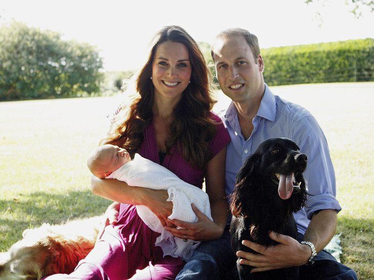 Prinz William, Herzogin Kate, Prinz George und Cocker Spaniel Lupo