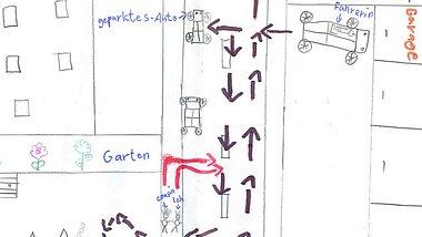 Skizze der Kinder. Sie klaerten den Unfall auf. - Foto: Polizeipräsidium Recklinghausen