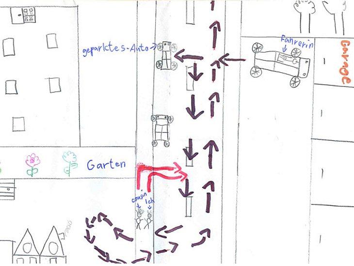 Skizze der Kinder. Sie klaerten den Unfall auf.