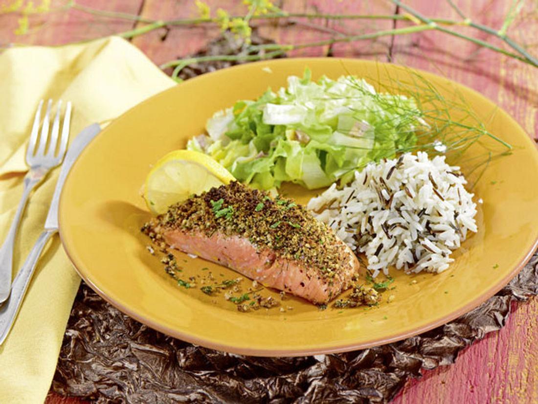 Kochen für Diabetiker: Lachsfilet in Kräuterkruste