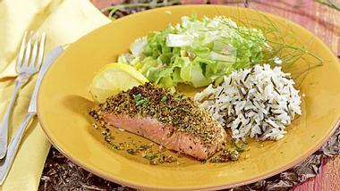 Kochen für Diabetiker: Lachsfilet in Kräuterkruste - Foto: Diabetes-Journal