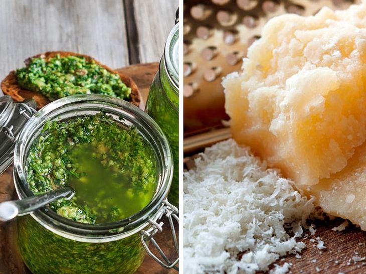 Tierisches Lab in Käse und Pesto