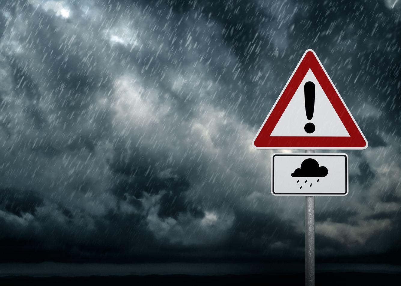 Warnung vor Starkregen.