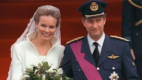 Vor 20 Jahren heiratete Kronprinz Philippe von Belgien seine große Liebe Mathilde. - Foto: PHILIPPE HUGUEN / Staff / GettyImages