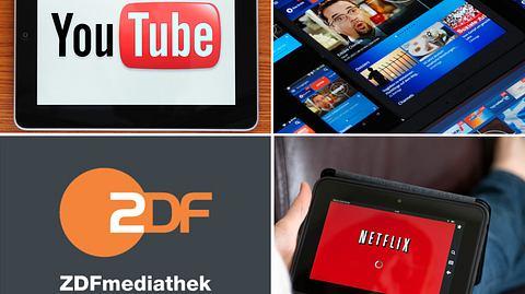 Mittlerweile haben sich viele Mediatheken und Streaming-Dienste etabliert. - Foto: hocus-focus / iStock; NDR / ARD.de; ZDF / Corporate Design; mphillips007 / iStock