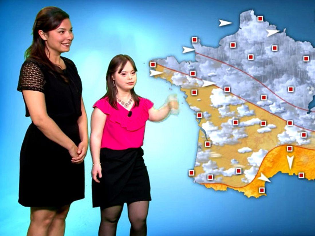 Mélanie leidet am Downsyndrom und führte durch das Wetter beim Sender France 2.