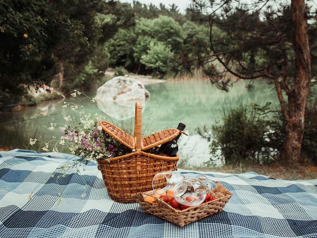 Decke und Korb, gefüllt mit leckeren Picknick-Rezepten, in der Natur