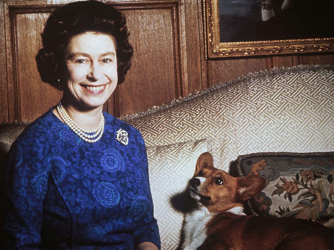 Queen Elizabeth mit einem ihrer Hunde 1970.