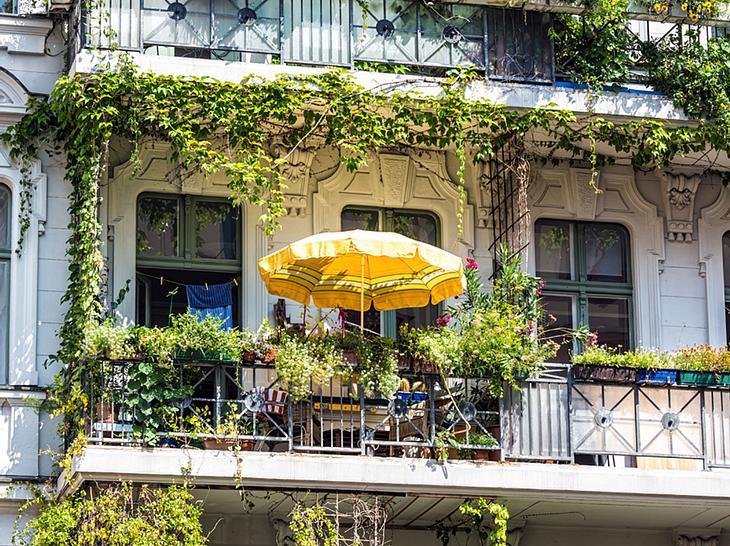 Grün bepflanzter Balkon in der Stadt.