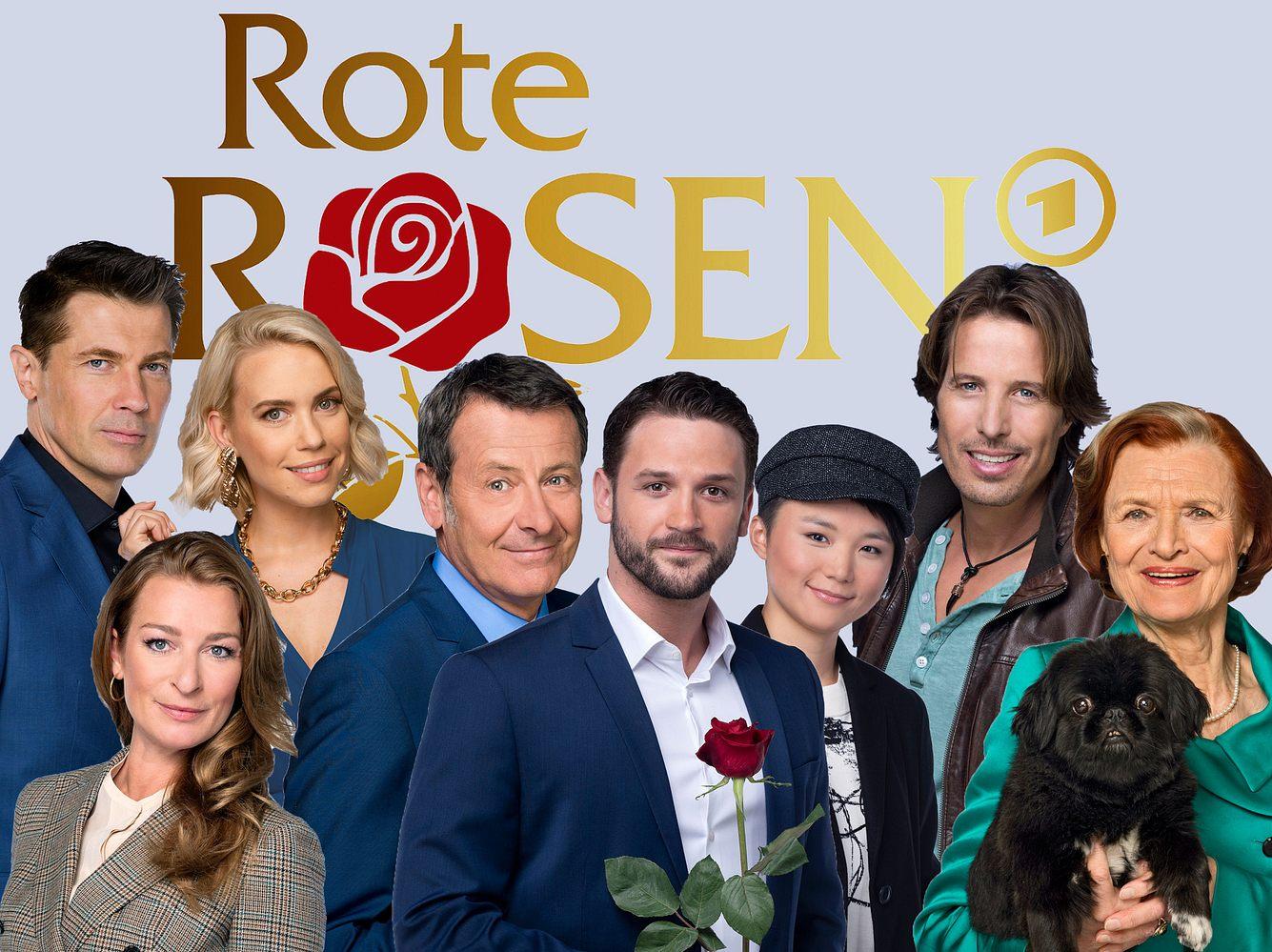 'Rote Rosen'-Darsteller vor dem Logo in einer Fotomontage.