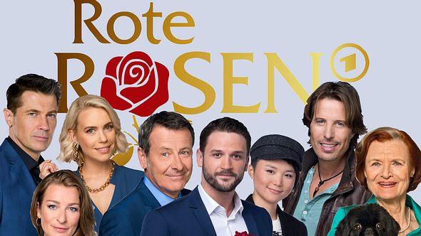 Rote Rosen-Darsteller vor dem Logo in einer Fotomontage.  - Foto: ARD / Thorsten Jander (8), ARD, Montage: Liebenswert