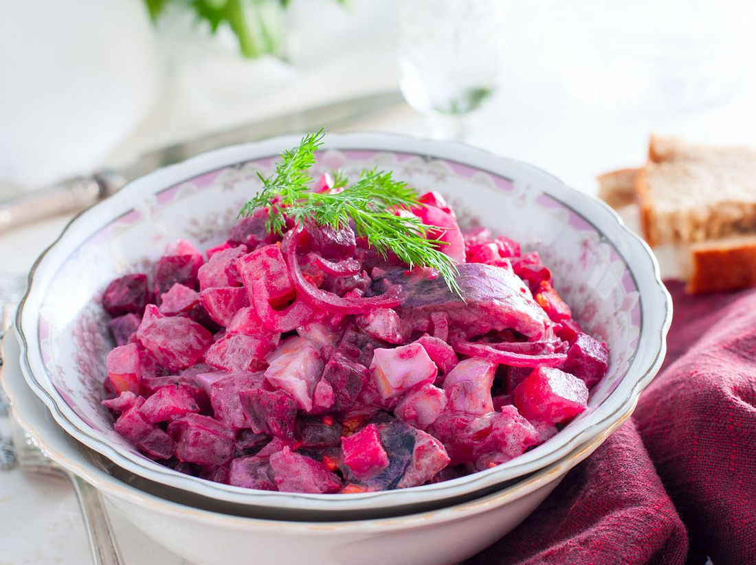 Das Rezept für roten Heringssalat.