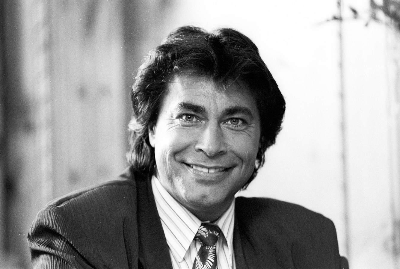 Roy Black im Mai 1990 am Rande von Dreharbeiten zu Ein Schloß am Wörthersee (RTL).