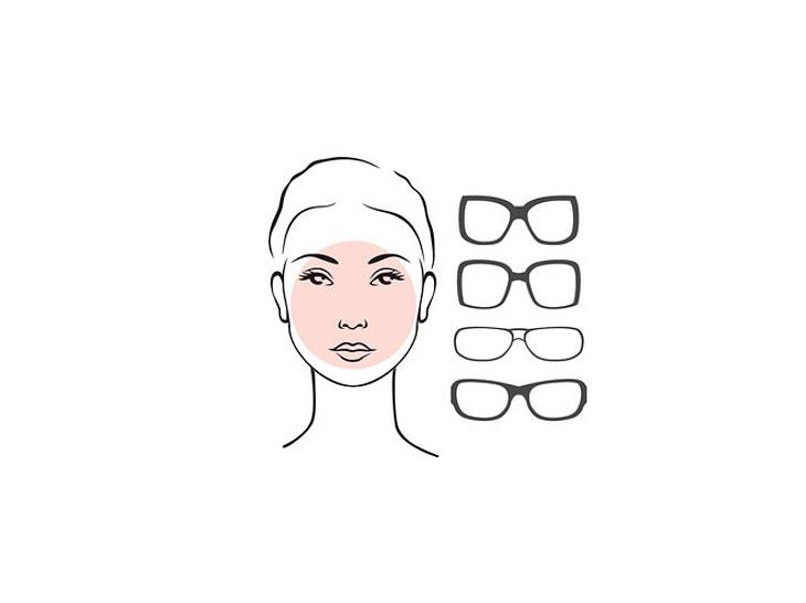 Einem runden Gesicht stehen eckige Brillen.