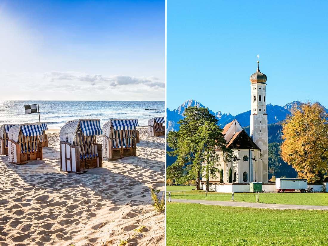 Nordsee und Allgäu sind beliebte Reiseziele.