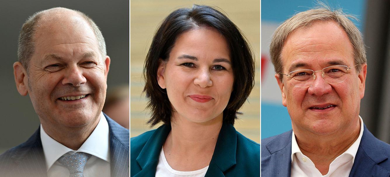 Olaf Scholz (SPD), Annalena Baerbock (Bündnis 90/Die Grünen), Armin Laschet (CDU/CSU)