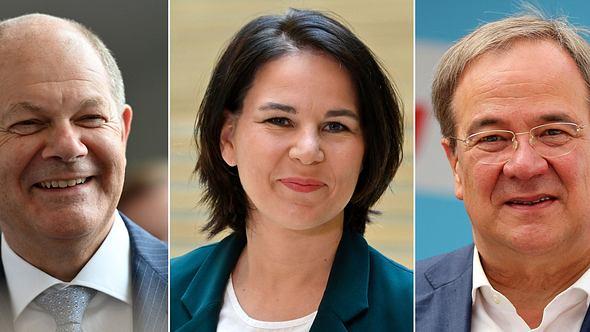 Olaf Scholz (SPD), Annalena Baerbock (Die Grünen), Armin Laschet (CDU/CSU) - Foto: INA FASSBENDER / Kontributor / Getty Images