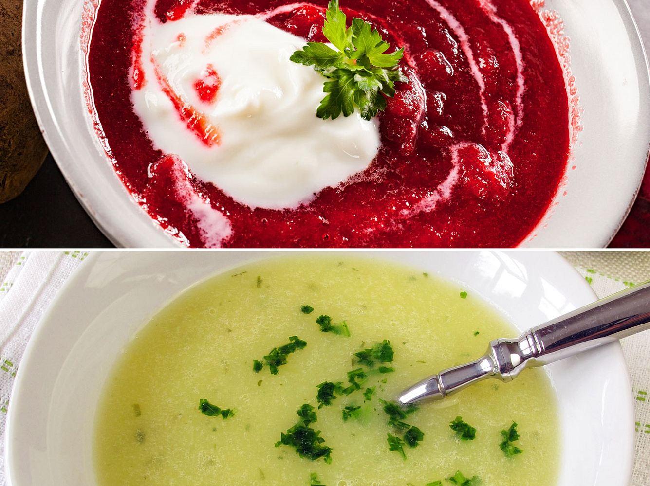 Rote-Bete-Suppe und Kohlrabisuppe.