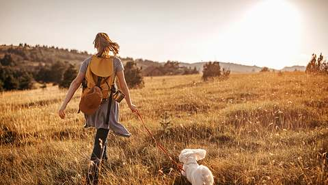 Frau geht Gassi mit ihrem Hund - Foto: iStock/mixetto