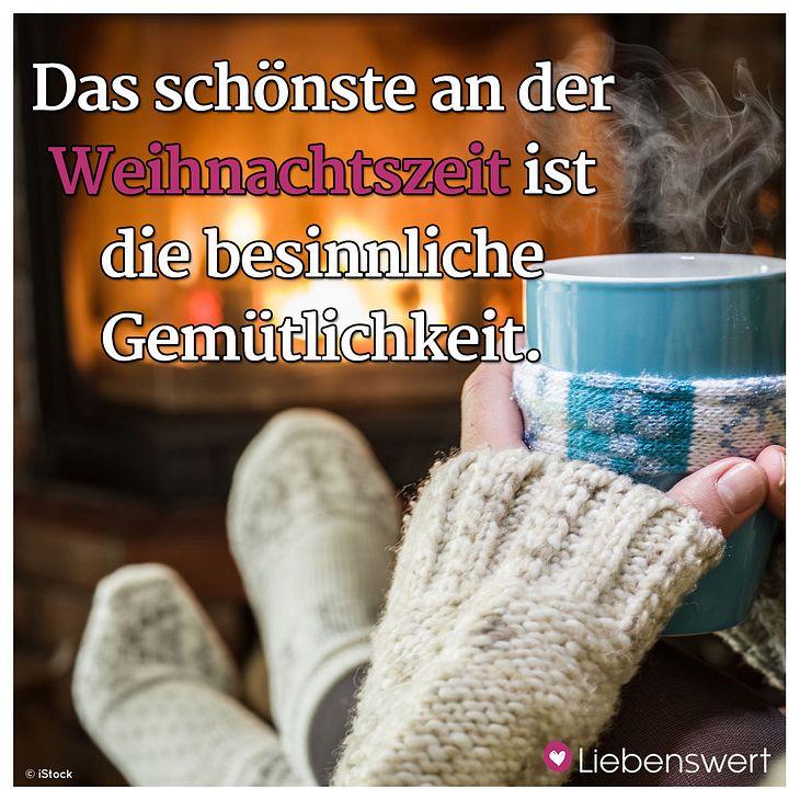 Ein Spruch über winterliche Gemütlichkeit.