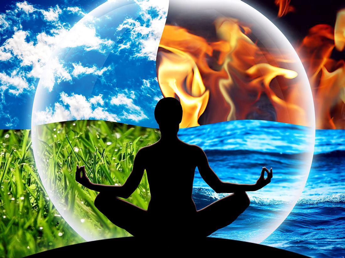 Die vier Elemente Feuer, Wasser, Luft und Erde können wir für unsere Gesundheit nutzen.