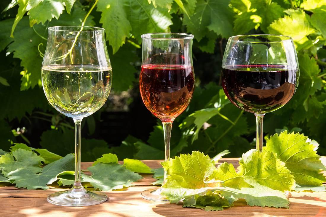 Verschiedene Weinsorten.
