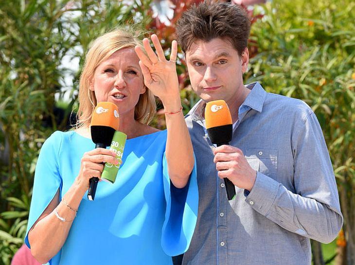 ZDF-Fernsehgarten-Moderatorin Andrea Kiewel mit Kollege Lutz van der Horst.